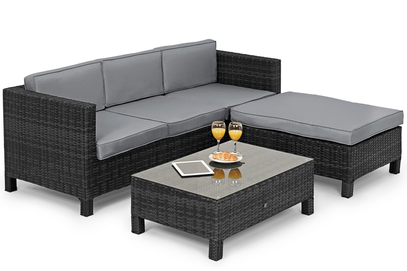 Maze Rattan L.A Casual Corner Sofa Dining Set In grey rattan color