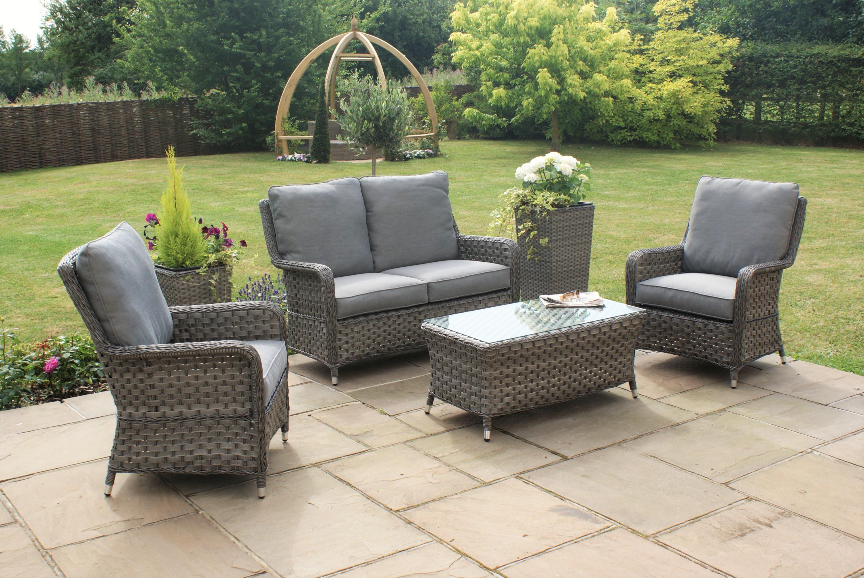 Maze Rattan Victoria 2 Seat High Back Garden Furniture Set