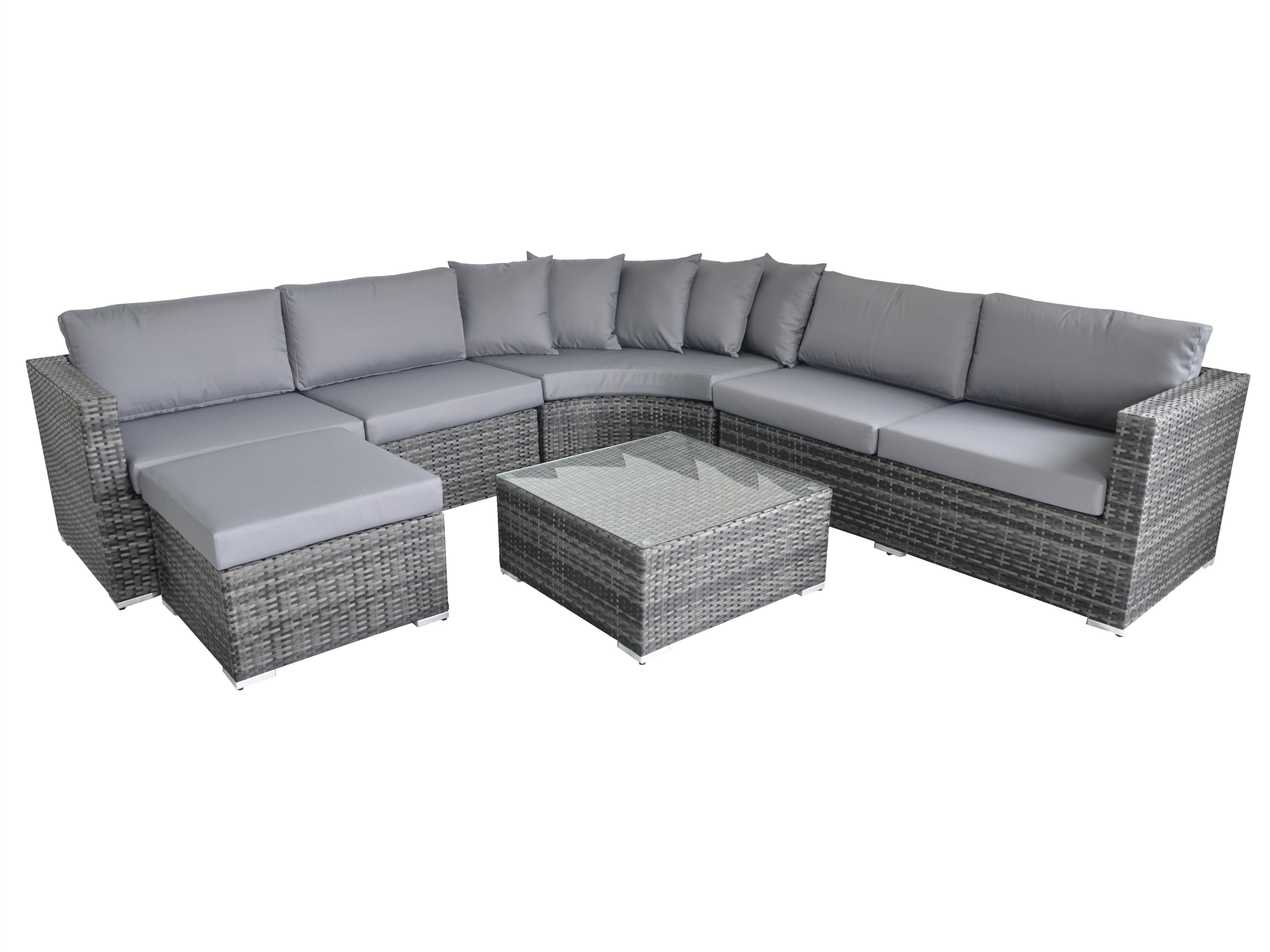Rattan Fairy Valencia 5 Piece Deluxe Garden Sofa Set In Grey rattan colour