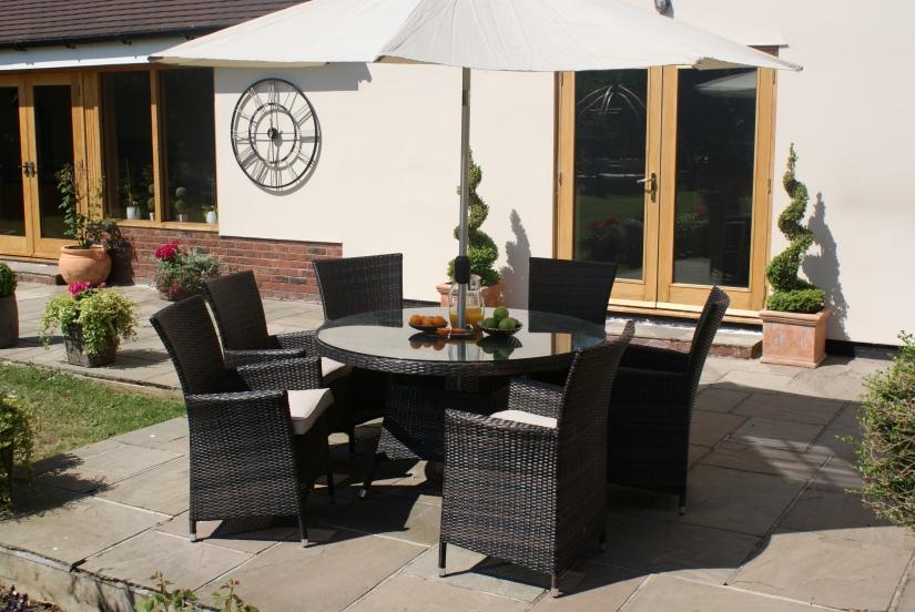 Maze Rattan LA 6 seat garden dining set
