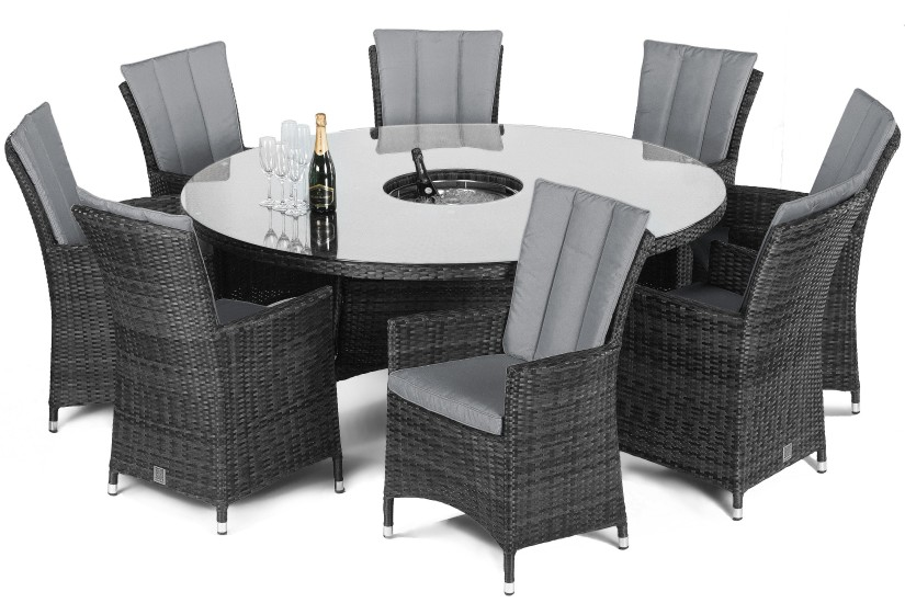 Maze Rattan LA 8 seat Garden Furniture Set in Grey Rattan Colour