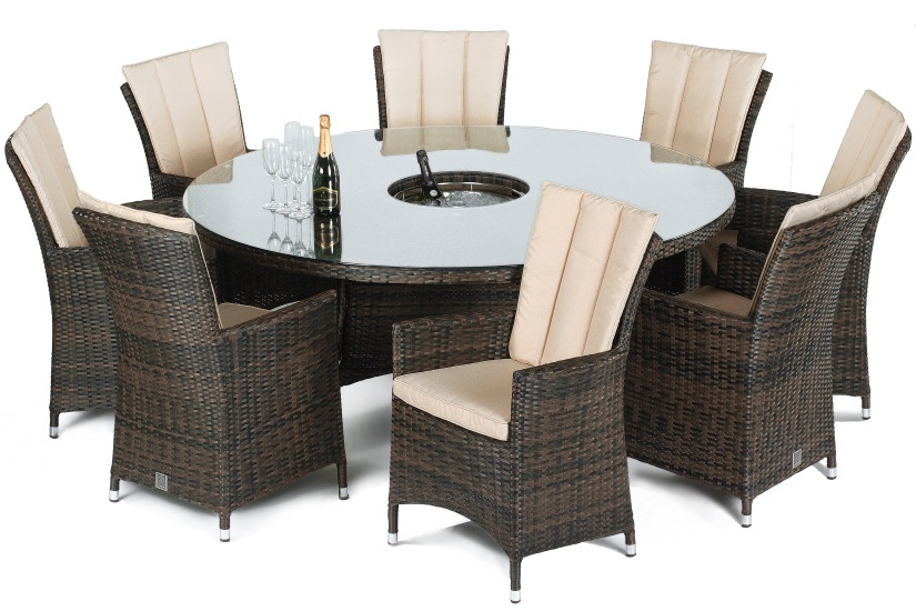 Maze Rattan LA 8 seat round garden furniture set with ice bucket and lazy Susan In mixed brown colour