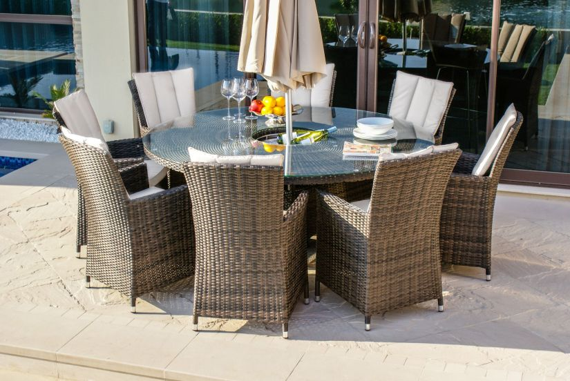 Maze Rattan LA 8 Seat Round Rattan Dining Set With Ice Bucket and Lazy Susan