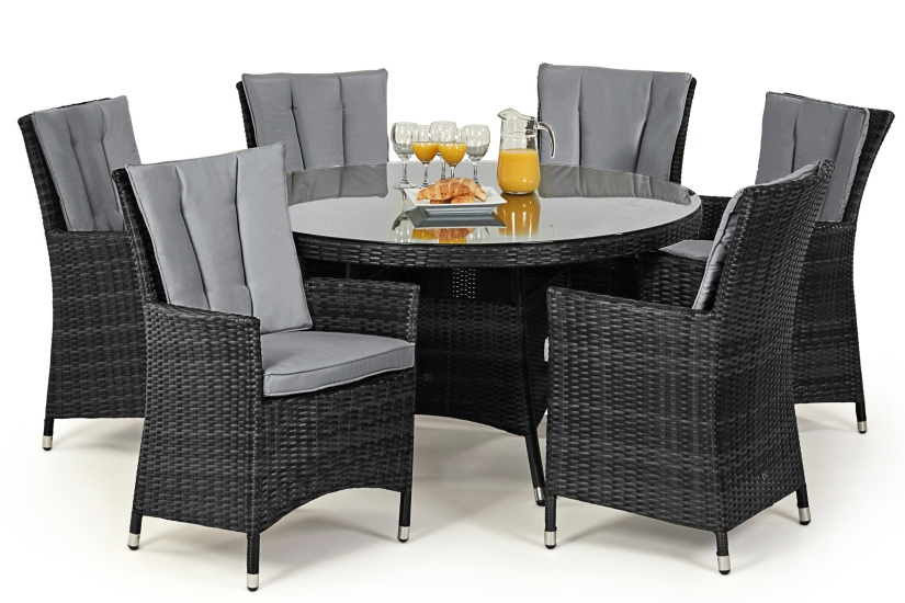 Maze Rattan La 6 dining Chairs In grey rattan color weave