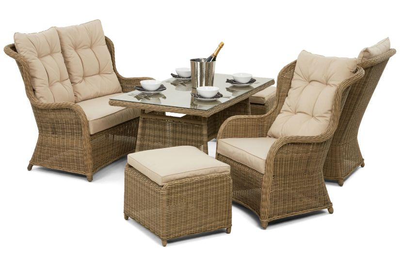 Maze Rattan Winchester High Back Garden Sofa Dining Set