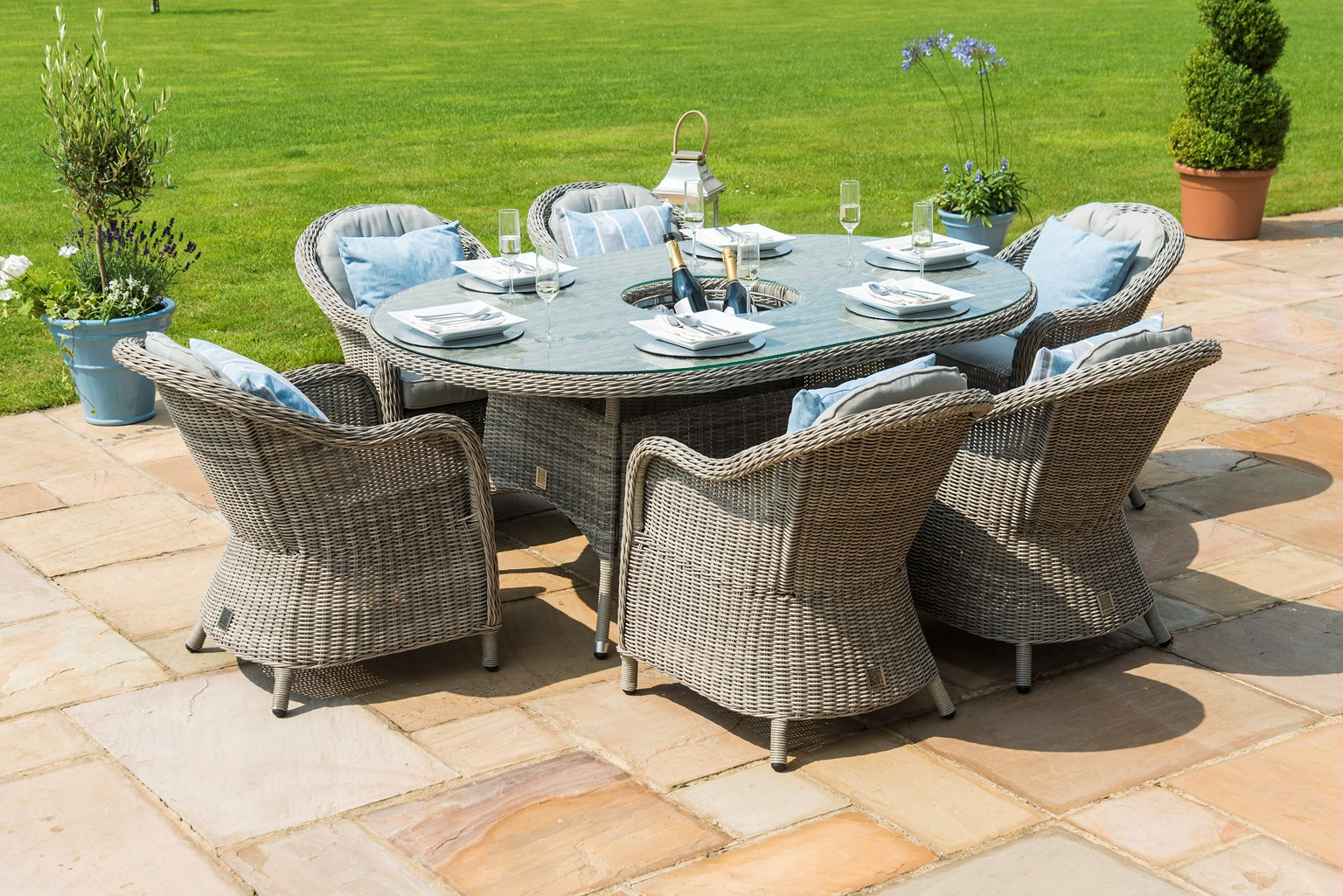 Maze rattan Oxford 6 seat Oval garden Furniture Set With Ice Bucket