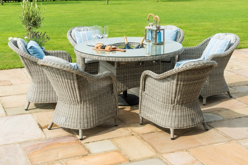 Maze Rattan Oxford 6 Seat Round Ice Bucket Garden Furniture Set With Lazy Susan