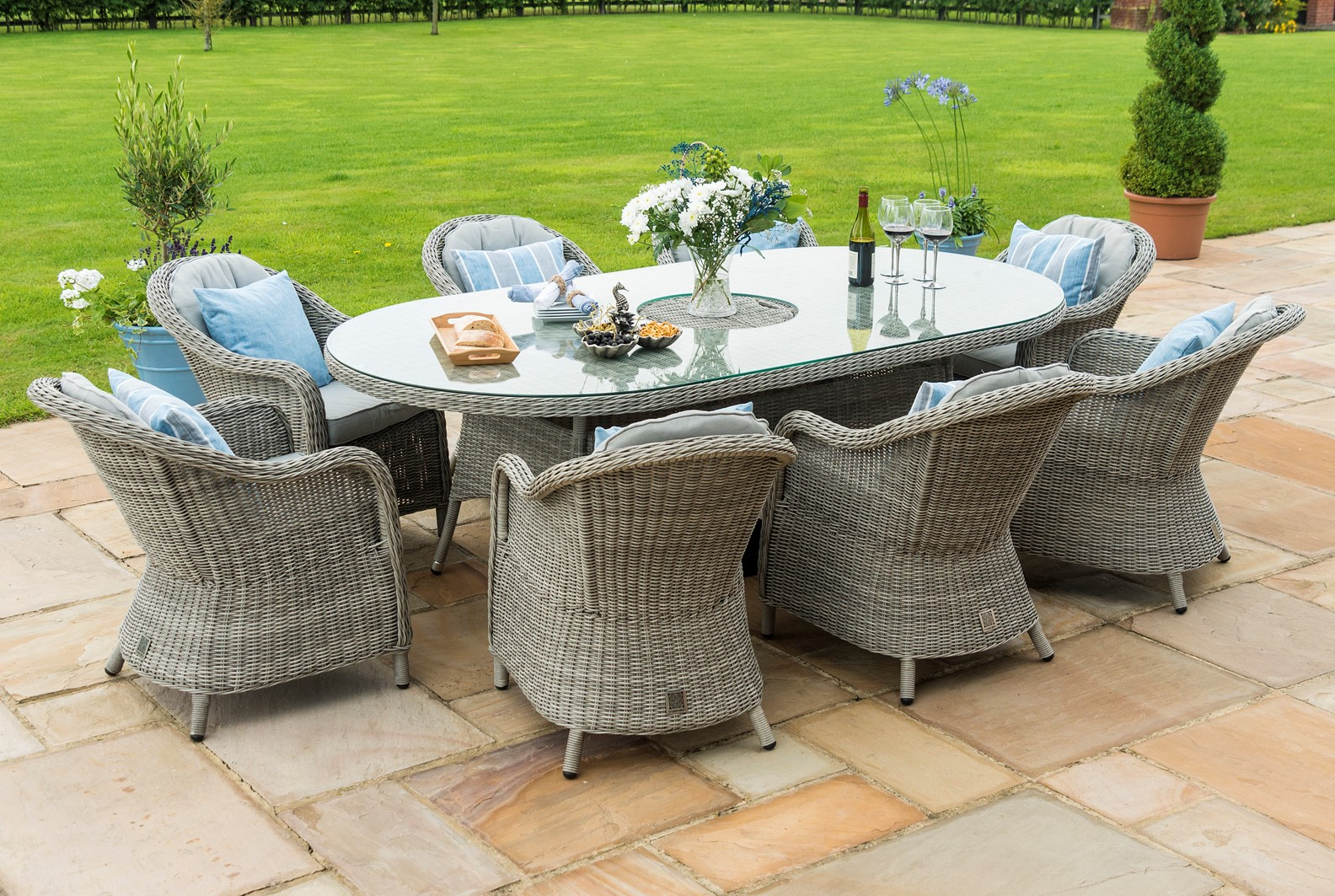 Maze Rattan 8 Seat Oval Garden Furniture Set With Ice Bucket and Lazy Susan