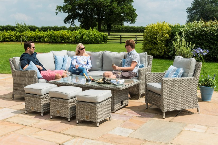 Maze Rattan Oxford Corner Sofa Dining set With armchair