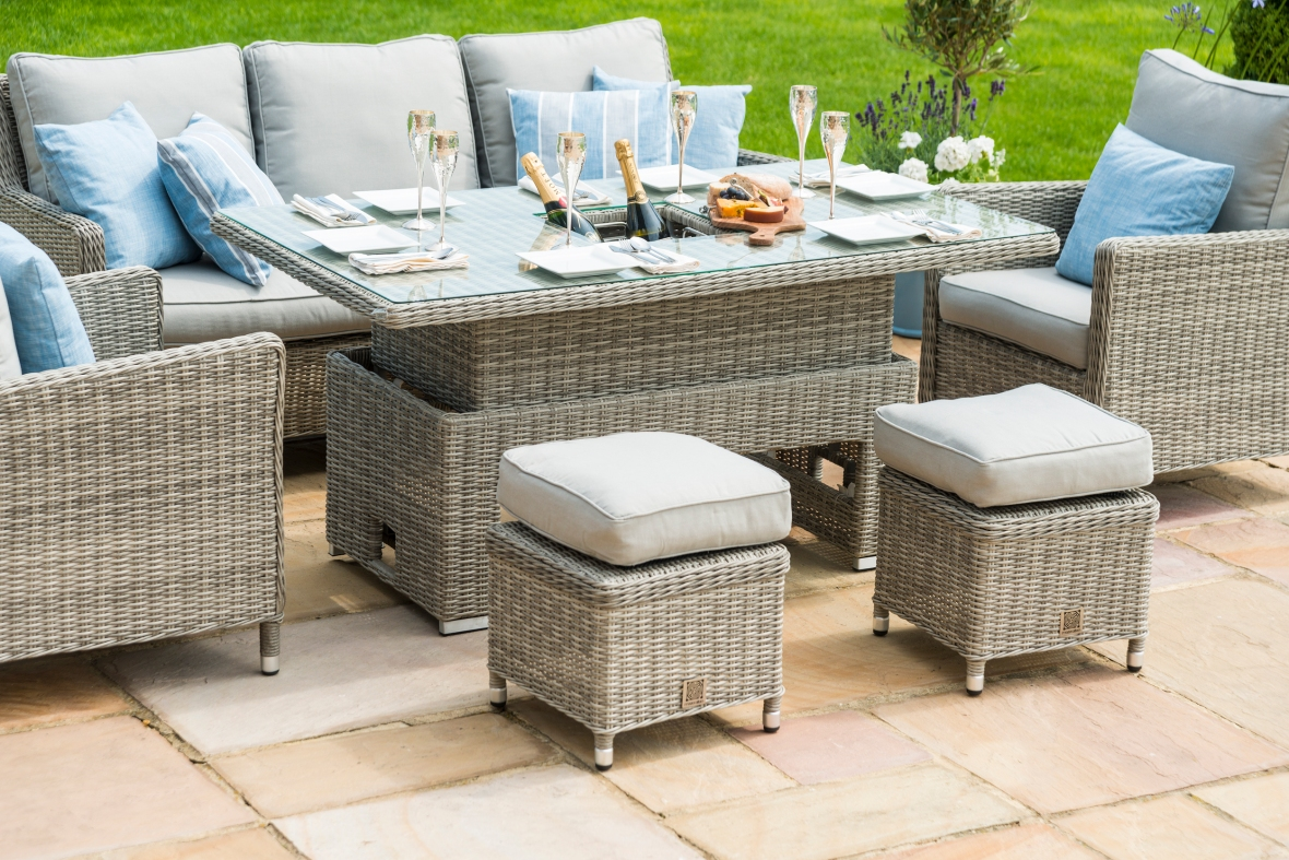 Maze Rattan Oxford Wicker Sofa Dining Set With Rising Table In Grey colour