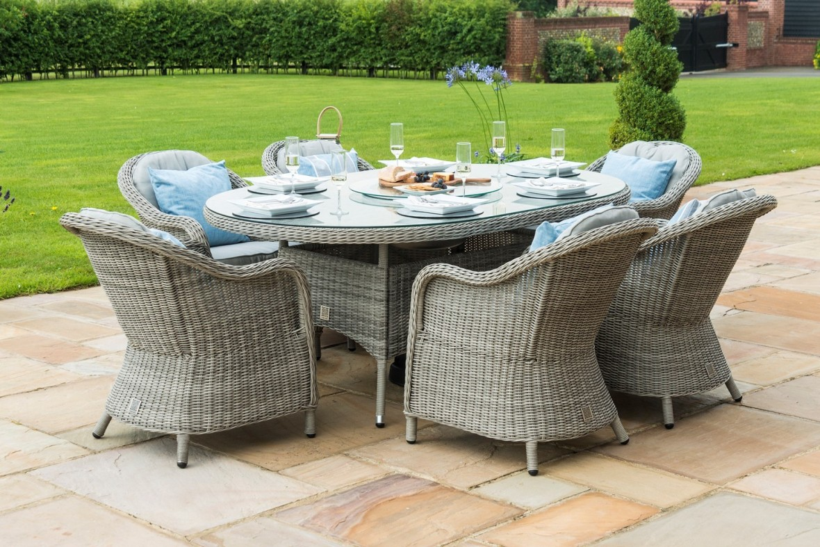 Maze Rattan Oxford 6 Seat Oval Dining Set With Ice Bucket and Lazy Susan