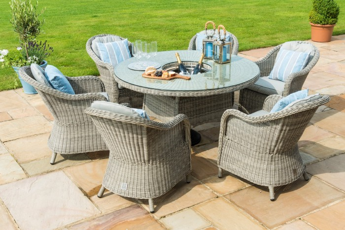 Maze Rattan Oxford 6 Seat Round Ice Bucket Dining Set
