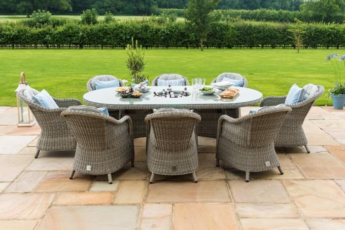 Maze Rattan 8 Seat Oval Garden Dining Set With Ice Bucket