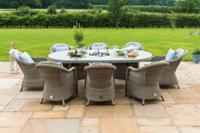 Maze Rattan 8 Seat Oval Garden Dining Set With Ice Bucket