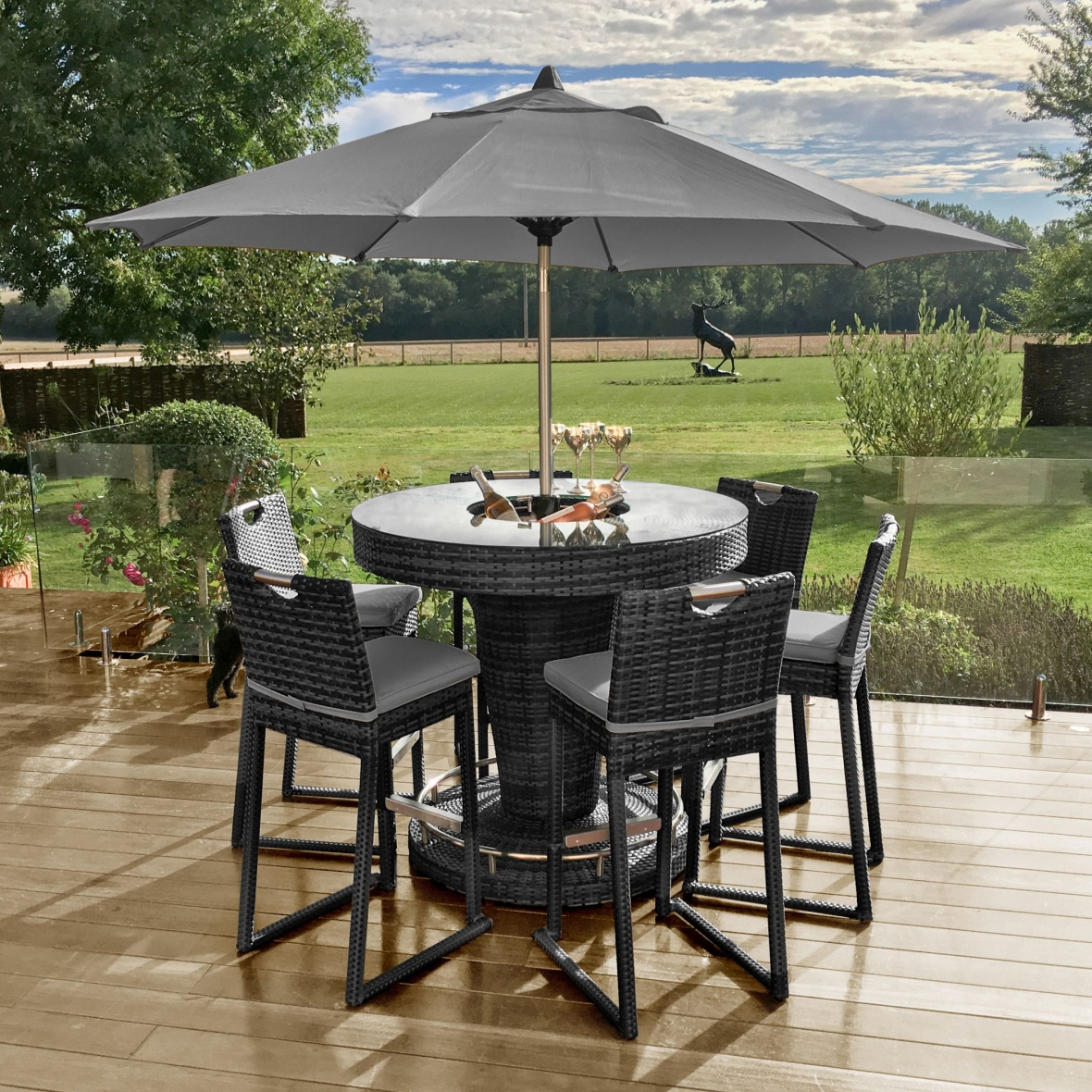 Maze Rattan 6 Seat Round Outdoor Furniture Bar Set - Mixed Grey Flat Weave