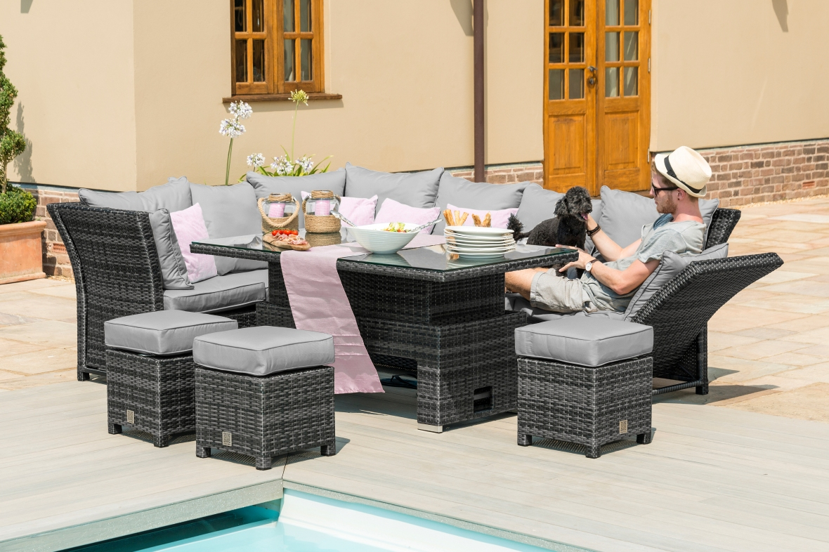 Maze Rattan Henley Garden Corner Sofa Set With Rising Table - Mixed Grey Flat Weave