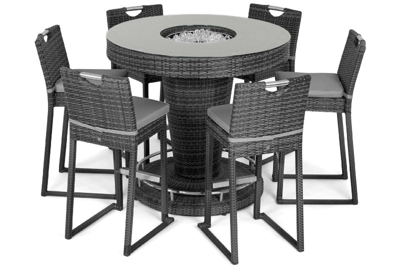 Maze Rattan 6 Seat Round Bar Set with Ice Bucket
