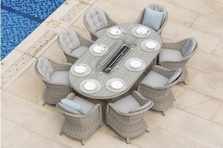 Maze Rattan Oxford 8 Seat Oval Dining Set With Fire Pit & Grill Plate