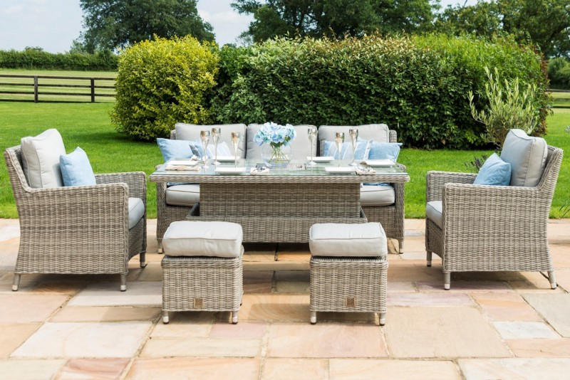Maze Rattan Oxford Casual Sofa Dining Set with Ice Bucket And Rising Table