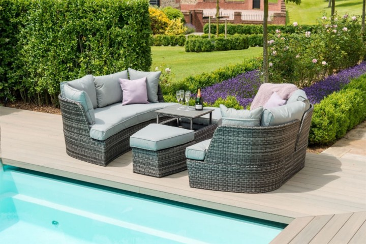 Maze Rattan Chelthenam Garden Sofa & Daybed — Mixed Grey FLat Weave