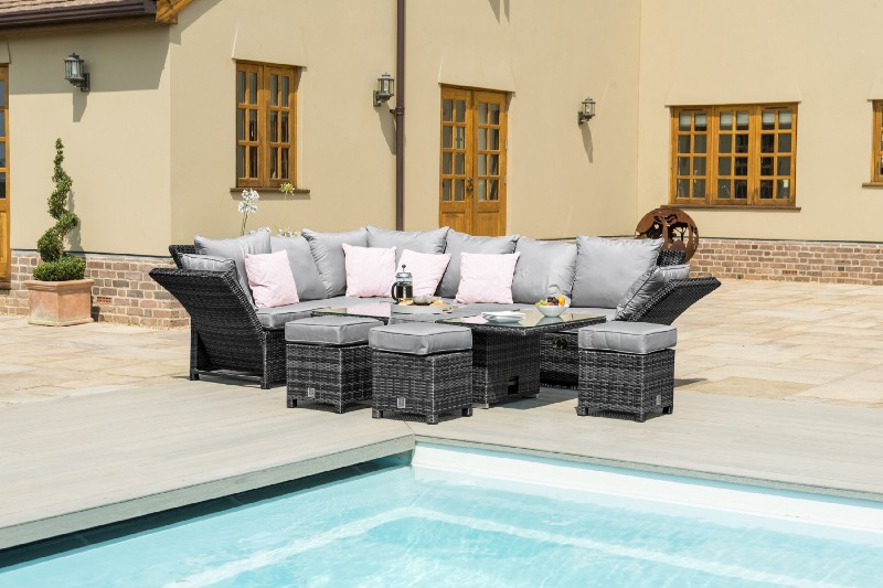 Maze Rattan Henley Corner Garden Sofa Dining Set With Adjustable arms
