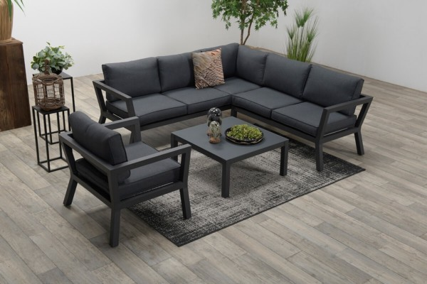 Vegas Aluminium Corner Sofa Set With Armchair