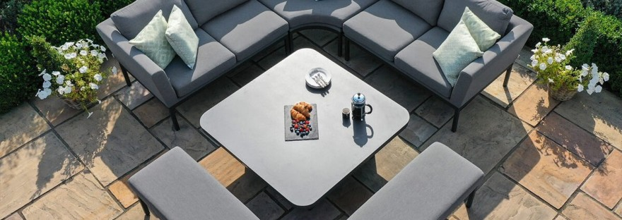 Maze Outdoor Fabric Pulse Deluxe Square Corner Dining Set - Rising Table